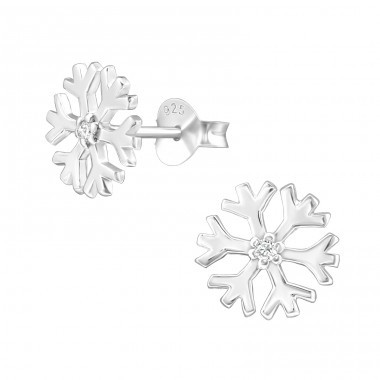 Snowflake - 925 Sterling Silver Ear Studs with Zirconia stones A4S11710