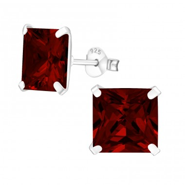 Square 9mm - 925 Sterling Silver Ear Studs with Zirconia stones A4S12158