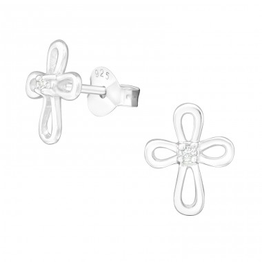 Cross - 925 Sterling Silver Ear Studs with Zirconia stones A4S12159