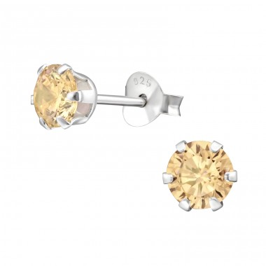 Round 5mm - 925 Sterling Silver Ear Studs with Zirconia stones A4S14832