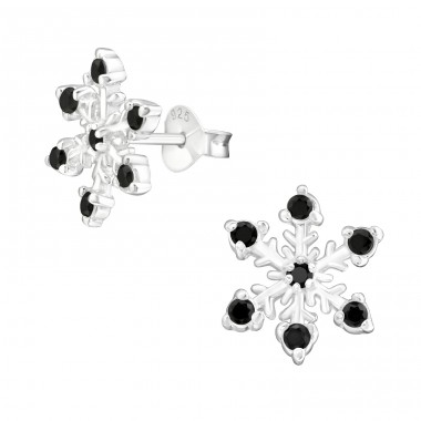 Snowflake - 925 Sterling Silver Ear Studs with Zirconia stones A4S15505
