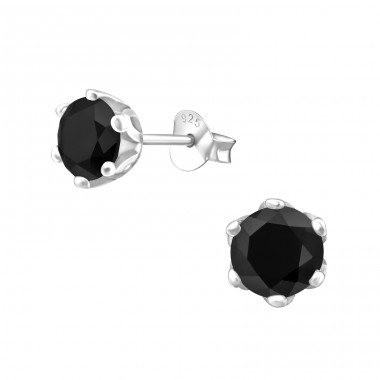 Round 6mm - 925 Sterling Silver Ear Studs with Zirconia stones A4S15507