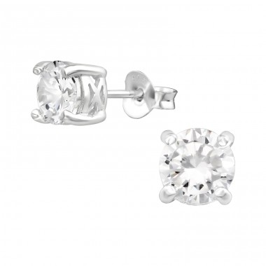 Round 5mm - 925 Sterling Silver Ear Studs with Zirconia stones A4S15512