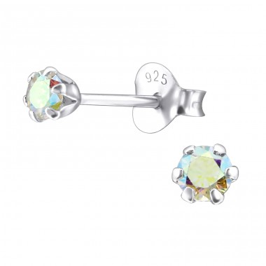 Round 3mm - 925 Sterling Silver Ear Studs with Zirconia stones A4S15517