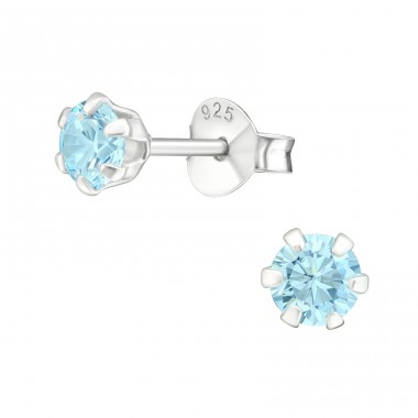 Round 4mm - 925 Sterling Silver Ear Studs with Zirconia stones A4S15518