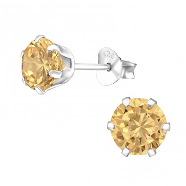 Round 6mm - 925 Sterling Silver Ear Studs with Zirconia stones A4S15522