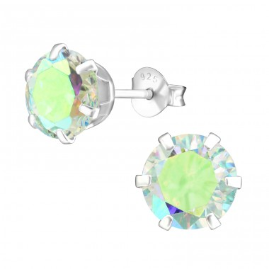 Round 8mm - 925 Sterling Silver Ear Studs with Zirconia stones A4S15523