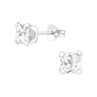 Square 5mm - 925 Sterling Silver Ear Studs with Zirconia stones A4S15525