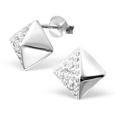 Square - 925 Sterling Silver Ear Studs with Zirconia stones A4S16156