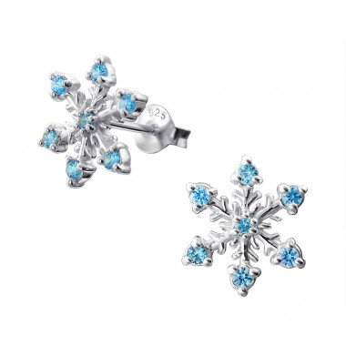 Snowflake - 925 Sterling Silver Ear Studs with Zirconia stones A4S16162
