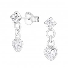 Heart - 925 Sterling Silver Ear Studs with Zirconia stones A4S16530