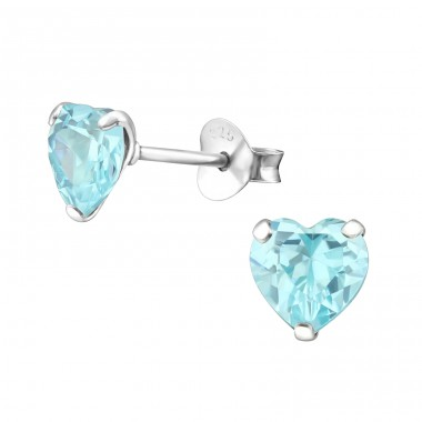 Heart 6mm - 925 Sterling Silver Ear Studs with Zirconia stones A4S17033