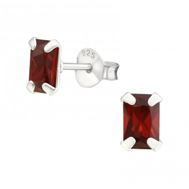 Baguette 4X6Mm - 925 Sterling Silver Ear Studs with Zirconia stones A4S17582