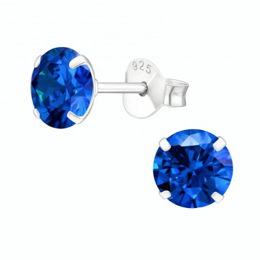 Round 6mm - 925 Sterling Silver Ear Studs with Zirconia stones A4S17973