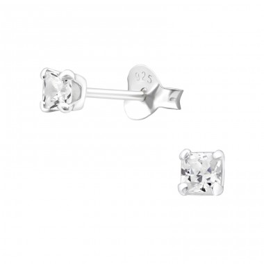 Square 3mm - 925 Sterling Silver Ear Studs with Zirconia stones A4S18336
