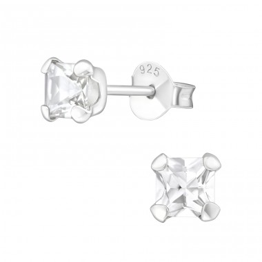 Square 4mm - 925 Sterling Silver Ear Studs with Zirconia stones A4S18401