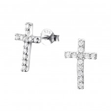 Cross - 925 Sterling Silver Ear Studs with Zirconia stones A4S18833
