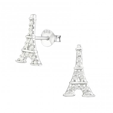Eiffel Tower - 925 Sterling Silver Ear Studs with Zirconia stones A4S19034