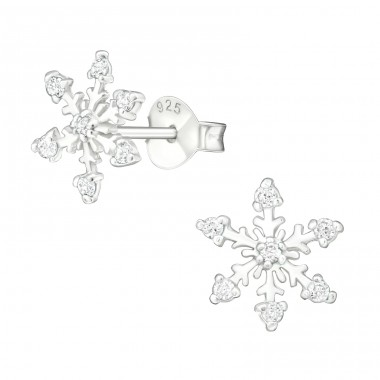 Snowflake - 925 Sterling Silver Ear Studs with Zirconia stones A4S19095