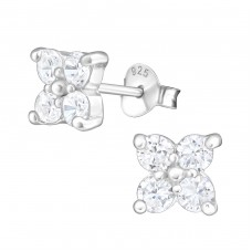 Flower - 925 Sterling Silver Ear Studs with Zirconia stones A4S19403