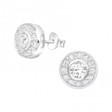 Round - 925 Sterling Silver Ear Studs with Zirconia stones A4S20325