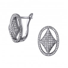 Oval - 925 Sterling Silver Ear Studs with Zirconia stones A4S20401