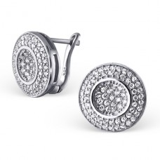 Round - 925 Sterling Silver Ear Studs with Zirconia stones A4S20403