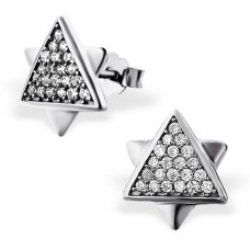 Triangle - 925 Sterling Silver Ear Studs with Zirconia stones A4S20417