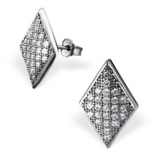 Trapezoid - 925 Sterling Silver Ear Studs with Zirconia stones A4S20419