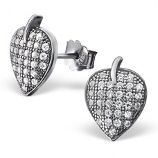 Leaf - 925 Sterling Silver Ear Studs with Zirconia stones A4S20423