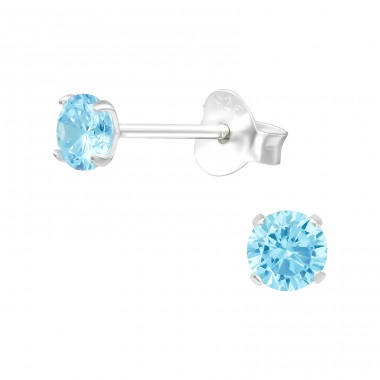 Round 4mm - 925 Sterling Silver Ear Studs with Zirconia stones A4S20995