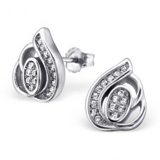 Leaf - 925 Sterling Silver Ear Studs with Zirconia stones A4S21215