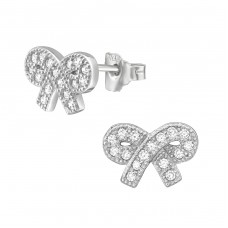 Bow - 925 Sterling Silver Ear Studs with Zirconia stones A4S21227