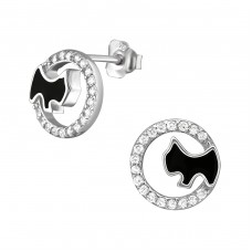 Dog - 925 Sterling Silver Ear Studs with Zirconia stones A4S21243