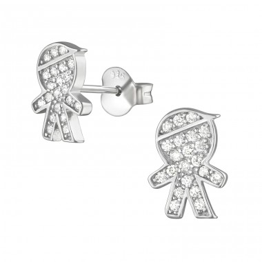 Boy - 925 Sterling Silver Ear Studs with Zirconia stones A4S21299