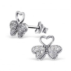 Leaf - 925 Sterling Silver Ear Studs with Zirconia stones A4S21304