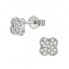 Flower - 925 Sterling Silver Ear Studs with Zirconia stones A4S21310