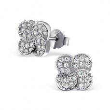 Flower - 925 Sterling Silver Ear Studs with Zirconia stones A4S21311