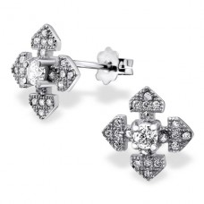 Cross - 925 Sterling Silver Ear Studs with Zirconia stones A4S21323