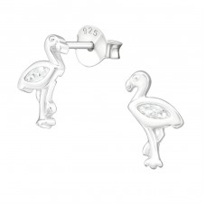 Flamingo - 925 Sterling Silver Ear Studs with Zirconia stones A4S21520