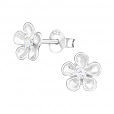 Flower - 925 Sterling Silver Ear Studs with Zirconia stones A4S21534
