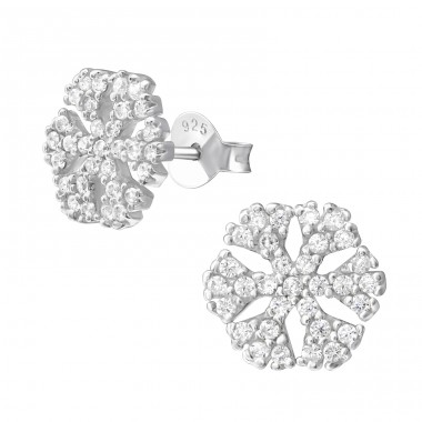 Snowflake - 925 Sterling Silver Ear Studs with Zirconia stones A4S21535