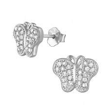 Butterfly - 925 Sterling Silver Ear Studs with Zirconia stones A4S21662