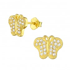 Butterfly - 925 Sterling Silver Ear Studs with Zirconia stones A4S21663