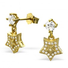 Star - 925 Sterling Silver Ear Studs with Zirconia stones A4S21672