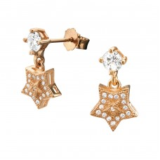 Star - 925 Sterling Silver Ear Studs with Zirconia stones A4S21673
