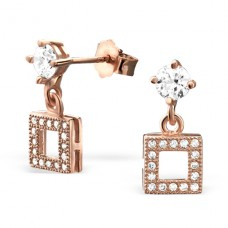 Square - 925 Sterling Silver Ear Studs with Zirconia stones A4S21682