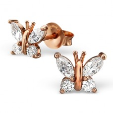 Butterfly - 925 Sterling Silver Ear Studs with Zirconia stones A4S21725