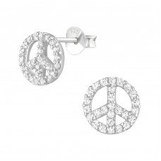 Peace - 925 Sterling Silver Ear Studs with Zirconia stones A4S21748