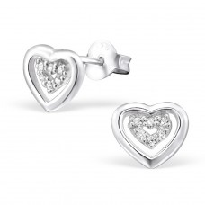 Heart - 925 Sterling Silver Ear Studs with Zirconia stones A4S21749